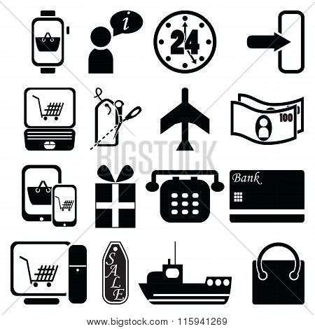 On line Shopping icons bag, sale label, plane, shipping, checkout, pc tablet mobile, laptop, 24 deli
