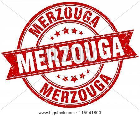 Merzouga red round grunge vintage ribbon stamp