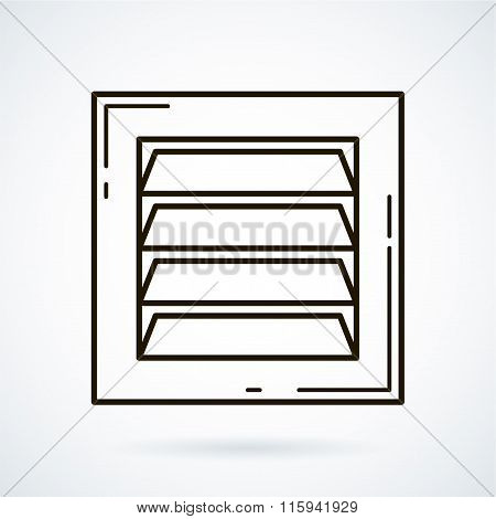 Black line vector icons for ventilation equipment, grill  on whi