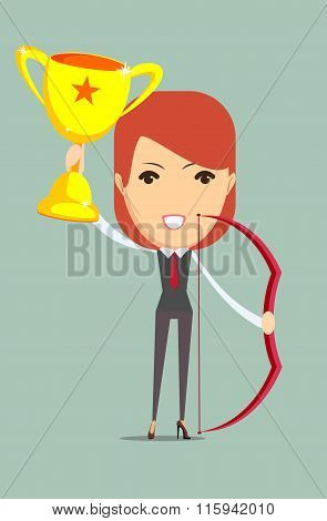 Business woman holding up winning trophy and bow.