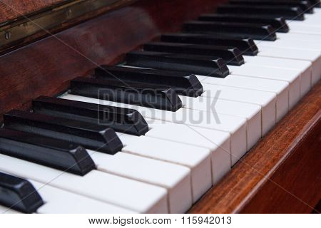 Keys Of An Old Piano Closeup. Musical Instrument
