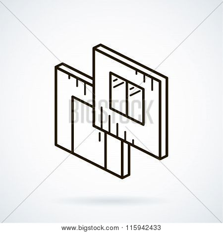 Black isometric line vector icon modular building on white backg