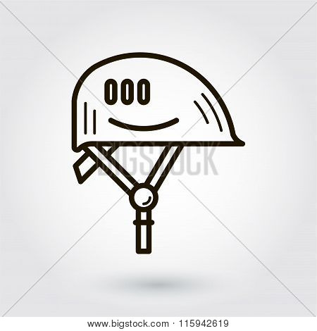 Black flat line vector icon of hard hat on white