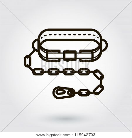 Black flat line vector icon of belt mounting