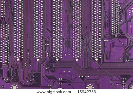 Dusty printed circuit board. High tech closeup