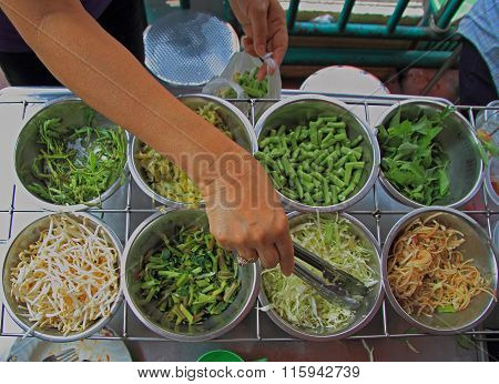 cutted greens in the market