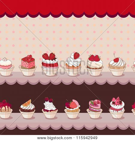 Seamless horizontal pattern with different kinds of fruit dessert on counter. Endless horizontal texture for your design, announcements, postcards, posters, restaurant menu.