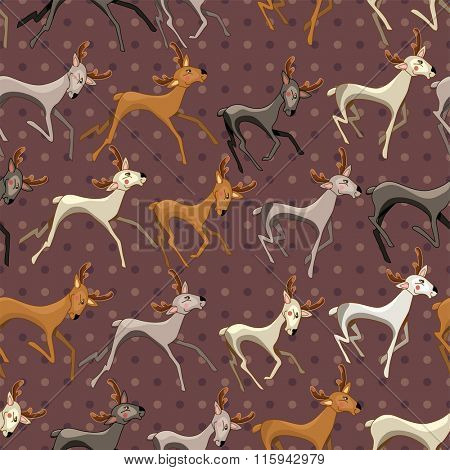 Seamless vintage dark brown pattern with galloping deer. Endless texture for your design, announcements, greeting cards, postcards, posters.