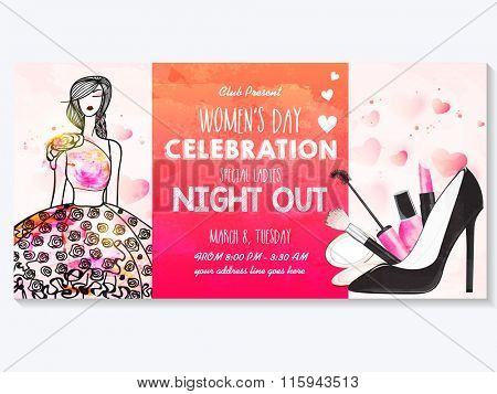 Creative poster, banner or flyer design with illustration of young girl, make up kit and high heel sandal for Women's Day Party celebration.