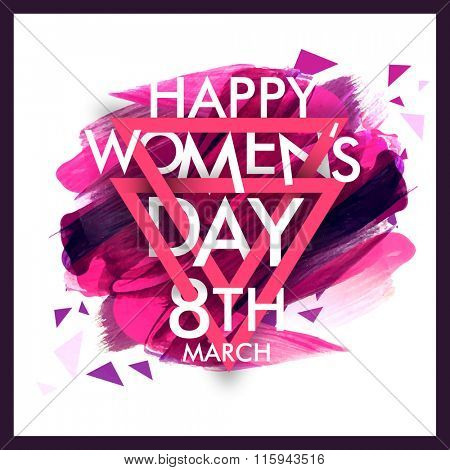 Elegant greeting card design with stylish text 8th March, Happy Women's Day on colorful paint stroke background.