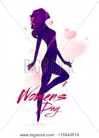 Creative illustration of a young girl in stylish pose on hearts decorated background for Happy Women's Day celebration.