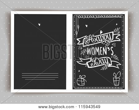 Elegant greeting card design with stylish text Happy Women's Day on chalkboard background.