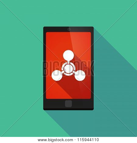 Long Shadow Phone Icon With  A Chemical Weapon Sign
