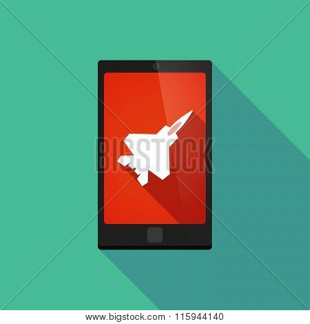 Long Shadow Phone Icon With  A Combat Plane