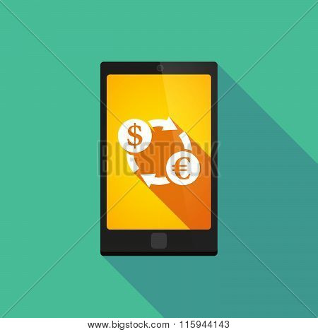 Long Shadow Phone Icon With  A Dollar Euro Exchange Sign