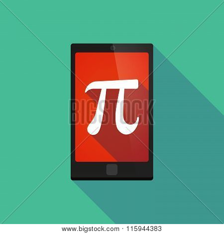 Long Shadow Phone Icon With  The Number Pi Symbol