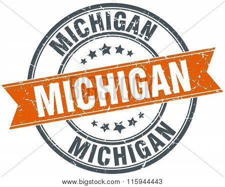 Michigan orange round grunge vintage ribbon stamp