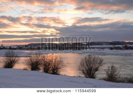 Moody sunset over Vistula river in Poland