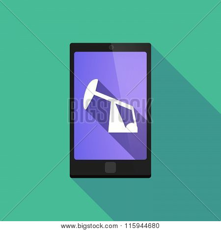Long Shadow Phone Icon With  A Horsehead Pump