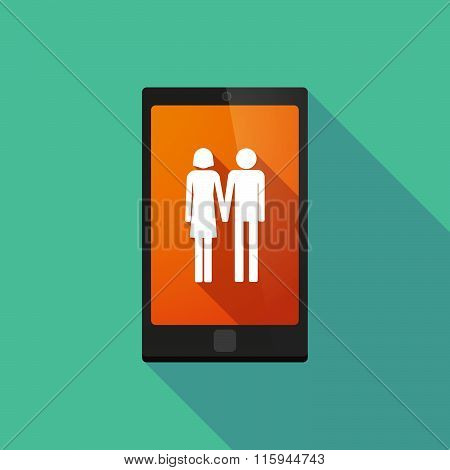 Long Shadow Phone Icon With  A Heterosexual Couple Pictogram