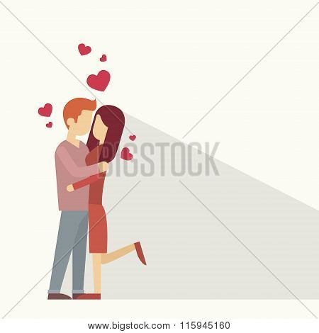 Valentine Day Holiday Silhouette Couple Lovers Embrace Heart Shape