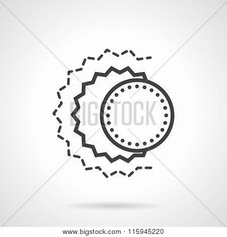 Solar eclipse abstract black line vector icon