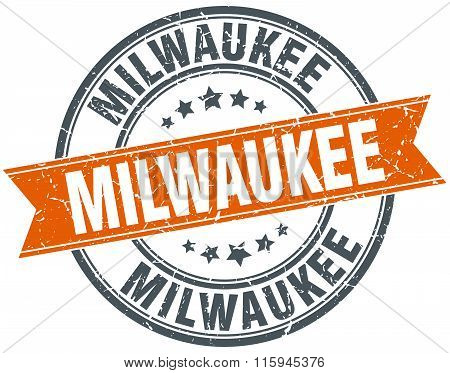 Milwaukee red round grunge vintage ribbon stamp