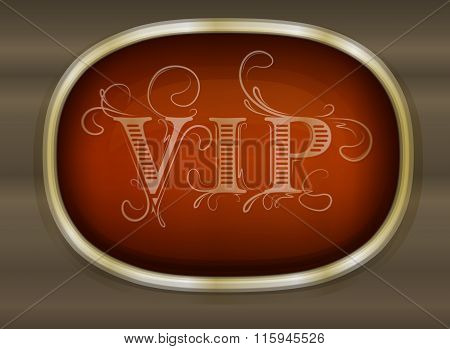 Gold Unusual Oval Frame With Shadow And Caption Vip On Dark Background For Your Design