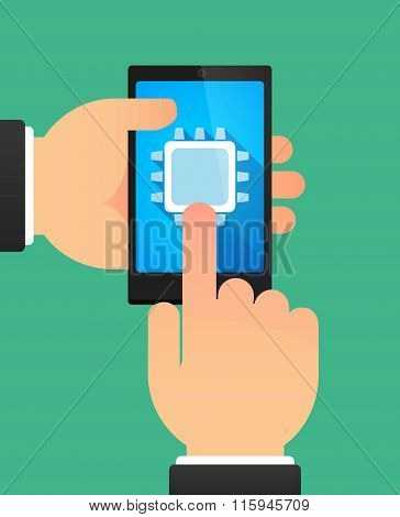Hands Using A Phone Showing A Cpu