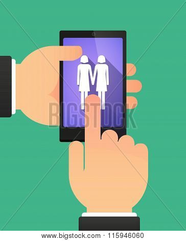 Hands Using A Phone Showing A Lesbian Couple Pictogram