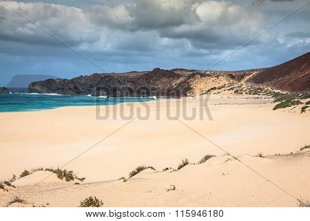 A View Of Playa De Las Conchas, A Beautiful Beach On La Graciosa, A Small Island Near Lanzarote, Can