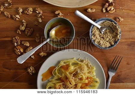 Walnut Noodles With Jam Close-up