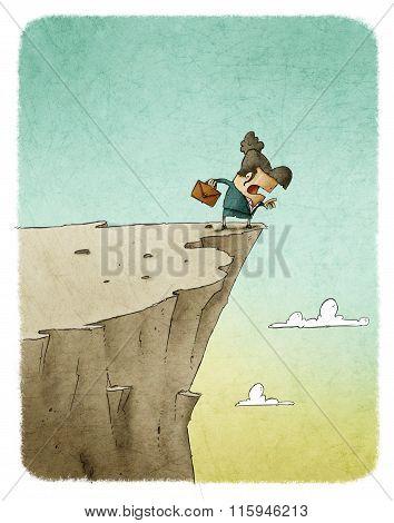 businesswoman in precipice