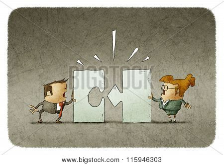 Businesspeople Arguing. Puzzles Don't Fit.