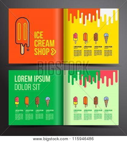 Ice Cream Brochure Design. Menu For Ice Cream Shop.