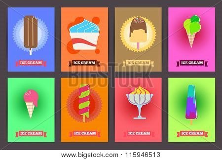 Brochures With Ice Cream. Vector Templates. Backgrounds With Ice Cream Set