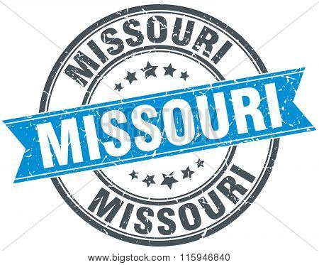 Missouri blue round grunge vintage ribbon stamp