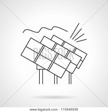 Solar power station flat line vector icon