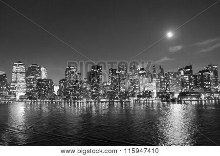 Financial District At Night Bw