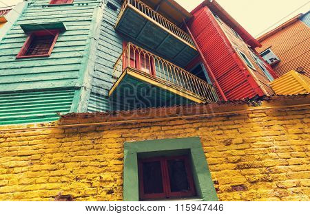 Bright colors of Caminito in La Boca neighborhood of Buenos Aires