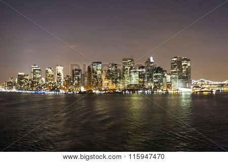 Financial District Cityscape At Night