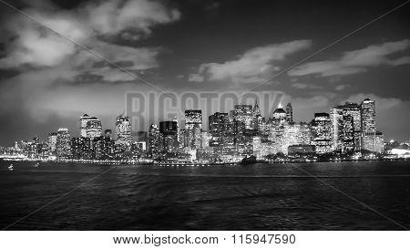 Financial District Illuminated At Night Bw