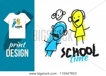 School Time Hand Drawn Illustration With Text And Funny Kids. Vector Illustration For T-shirt On Oth