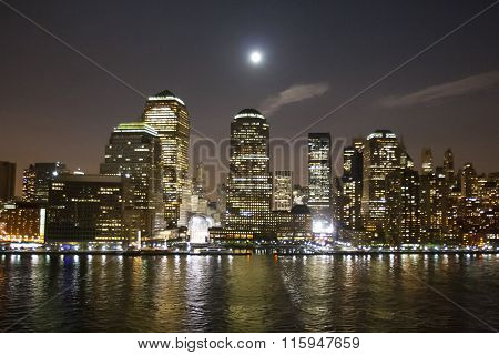 Financial District In New York Illuminated