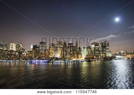 Financial District Skyscrapers Illuminated