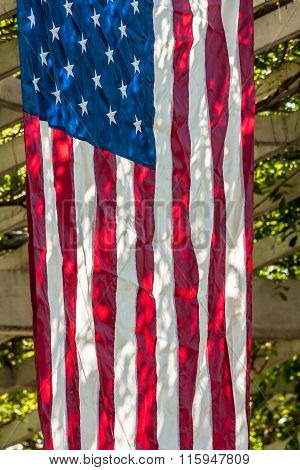 American Flag Hanging Vertically