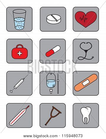 Set Of Bright Medical Icons Set With Tablet, Thermometer, Dropper, Syringe, Plaster And Other.