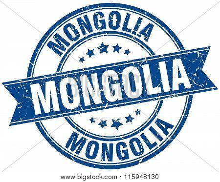 Mongolia blue round grunge vintage ribbon stamp