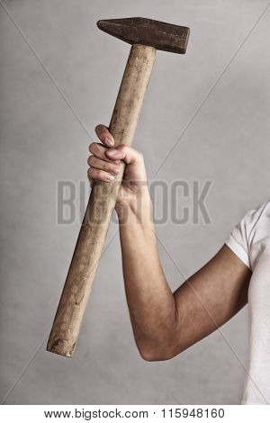 Hammer Tool In Hand Of Female Worker