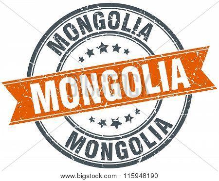 Mongolia orange  round grunge vintage ribbon stamp